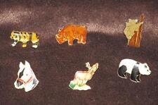 Lot 6 Vintage enamel animal pins Deer Rhino Tiger horse head Panda Koala Bear