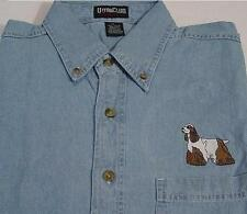 SALE - 50% OFF LARGE COCKER SPANIEL DOG L/S DENIM SHIRT Price Embroidery Apparel