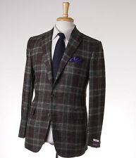 NWT $3095 SARTORIA PARTENOPEA Green-Brown Check Wool-Silk Sport Coat 38 R (Eu48)