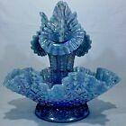 "12"" FENTON Diamond Lace Sapphire Blue Carnival Pressed Glass 4-Piece Epergne Set"