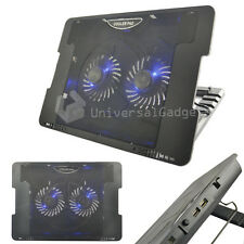 "COOLER Laptop Netbook Raffreddamento Pad USB 2 Fan Stand per 15 17"" Games Console"