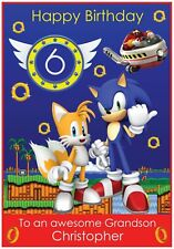 Personalised Sonic The Hedgehog Inspired Birthday Card - Awesome !
