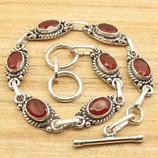 "925 Silver Plated Cut Carnelian Gemset Retro Style Red Bracelet 7.9"" !"