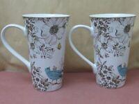 "222 Fifth Pembroke Green and Blue bird Latte / Coffee Mugs 6"" tall Lot of 2"