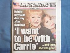 NEWSPAPER STAR WARS DEBBIE REYNOLDS DIES DAY AFTER DAUGHTER DEC 2016 YORK POST