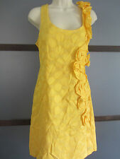 Ladies Dress Yellow Ruffle Rosettes Polka Dots Garden Party Wedding Cotton 12