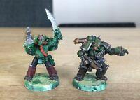 2 Games Workshop Warhammer 40k Chaos Space Marines Plague Marines Champion Metal