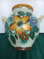 RARE VINTAGE ARTS CRAFTS GOUDA ZUID HOLLAND DUTCH FOLK ART DECO VASE 6-3/4""
