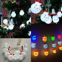 10/20 LED String Light Snowman Santa Fairy Indoor Lights Party Xmas Tree Decor