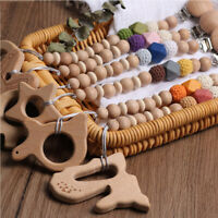 Natural Beech Fawn Elepahnt Pendant Silicone Wood Beads Baby Pacifier Chain Clip