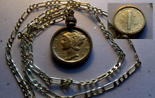 """Gold Plated Mercury Dime Pendant on a 18K 24"""" Gold Filled Chain"""