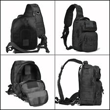 Tactical Sling Shoulder Bag Men Military Backpack Molle Chest w/ Flag Patch Pack