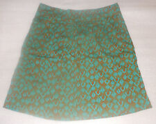 Eddie Bauer Womens Peacock Print Knee Length Skirt Size 2 Regular Blue Brown