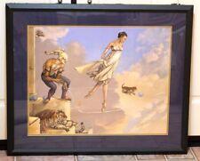 "Michael Parkes ""Ribbon Dancer"" Art Print Black Frame & Matting Frame Needs TLC"