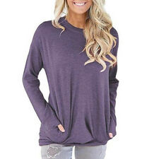 Plus Size Womens Long Sleeve Pocket Tops Ladies Loose Casual Blouse T Shirt HO