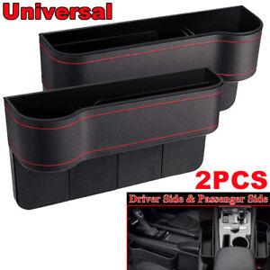 2x Car Seat Gap Storage Pocket  Box Organizer Cup Holders Phone Case PU Leather