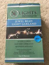 Invisilites Blue Led Jewel Bead Light Garland New Beaded Jeweled Decor