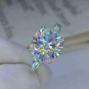 2Ct Cushion Cut Simulated Diamond 3 Stone 14K White Gold Finish Engagement Ring