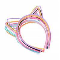 10pcs Cat Ear Headband Plastic Cat Hairband Cat Bow Hairbands Makeup Headwear