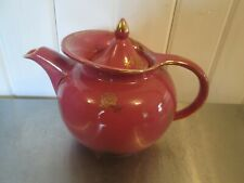 Hall\u2019s Maroon Windshield Teapot With Gold Roses and Trim