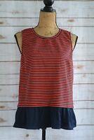 J.Crew - Navy RED-ORANGE striped sleeveless PEPLUM blouse, size M
