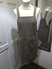 60's Style Pinafore Dress Mustard Brown White Pattern UK Size 12 Spring Summer