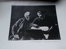 Antique 1904 Reproduction Etching THE PRINT COLLECTORS watercolour by H Daumier