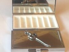 Sword DR100 English Pewter On Mirrored 7 Day Pill box Compact