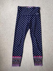 Lorna Jane Leggings Size S Activewear Yoga Barre Pilates Navy Pink Paisley Print