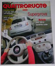 QUATTRORUOTE 8/2007 FIAT 500 MULTIJET SPORT – RENAULT TWINGO 1.5 DCI – AUDI R8