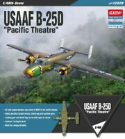 Academy 1/48 USAAF B-25D Pacific Theatre Aircraft Bomber Hobby Kits Toys 12328