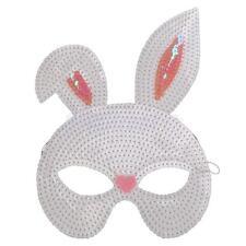 White Sequin Rabbit Bunny Ears Eye Mask Easter Animal Masquerade Fancy Dress