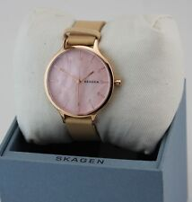 NEW AUTHENTIC SKAGEN ANITA ROSE GOLD BEIGE LEATHER PINK MOP WOMENS SKW2704 WATCH