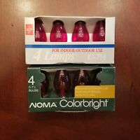 8 NOS Transparent C-7 1/2 Red & Amber Cool Burning Christmas Bulbs  Tested