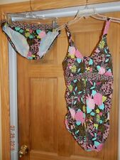 Motherhood Maternity Tankini 2 piece Swimsuit M Shirred Sides Brown Pink Mod