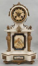 Antique 19thC French Hand Painted Alabaster Bronze Ormolu Clock w Key & Pendulum