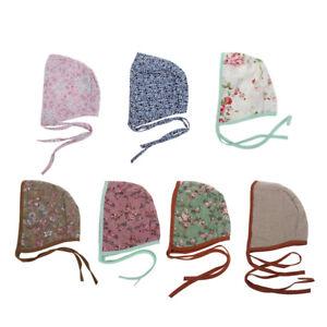 Floral Vintage Baby Double Side Linen Strap Beanie Prop Cap Kids Bonnet 7 styleS