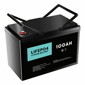 12V 100Ah Lithium Iron Battery LiFePO4 Cells Rechargeable Deep Cycle RV Camping