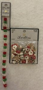 Christmas Beads 30 Gold Enamel Charms & 1 Strand Red,Green & Clear Crystal Cubes