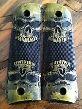 1911 Grips Skulls Checkered Green Dyed Maple Fits Colt Kimber Rock Island