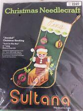 Sultana Christmas Needlepoint Stocking Kit Jeweled Jack In The Box 1249