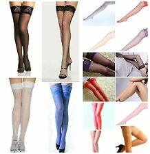 NEW LACE TOP HOLD UPS STOCKINGS FISHNET SHEER Elasticated top or silicone strip