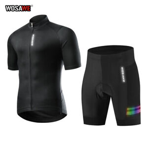 Mens Cycling Clothing Breathable Bike Jersey Shorts Skinsuit Racing Padded Pants