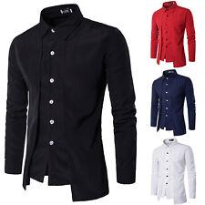 Hombre Camisa De Manga Larga Informal Ajustado Ocio Vestido botón Tops Camisetas