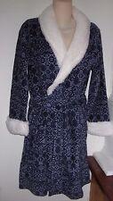 ULTA L-XL Navy BLUE WHITE Plush Faux Shearling Robe Womens Large Extra L Plus NW