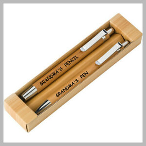 Personalised Pen+ Pencil SET Dad Mum Fathers Gift Birthday Laser Engraved Kids