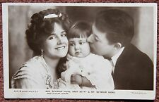 1906 Seymour Hicks & Ellaline Terriss & Baby Betty Photographic Rotary Postcard