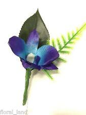 Silk wedding flower groom buttonhole blue Singapore orchid buttonholes flowers