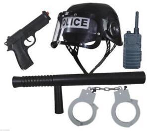 Polizist Polizei SWAT Weste Police FBI CIA Kostüm Uniform Polizeikostüm Set Helm