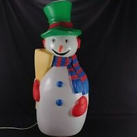 "TPI Snowman Blow Mold Frosty Broom Carrot Nose 41"" Lighted Vintage Yard Decor"